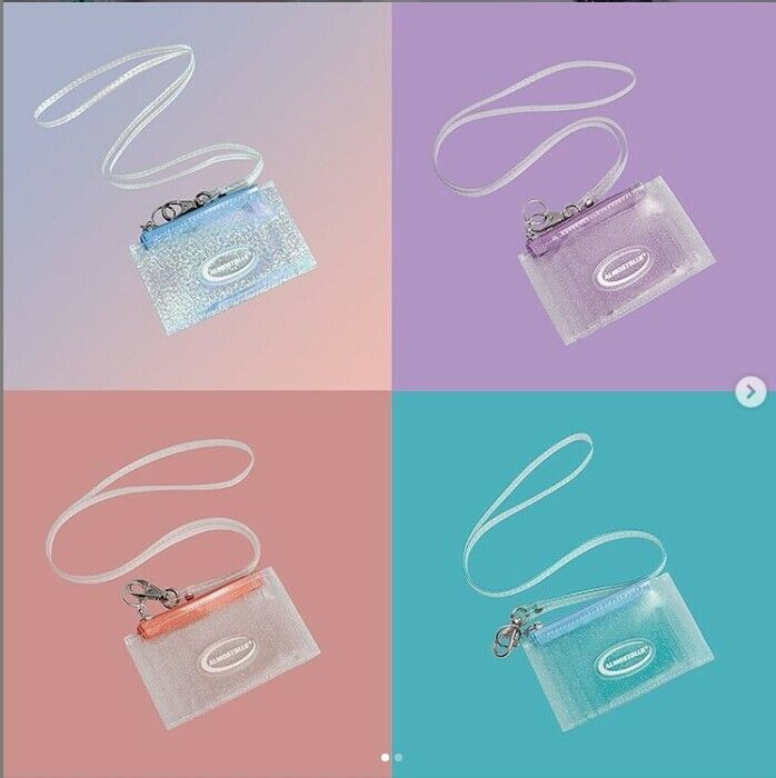 [ALMOSTBLUE] TWINKLE CARD COIN TRANSPARENT WALLET 4 colors with necklace