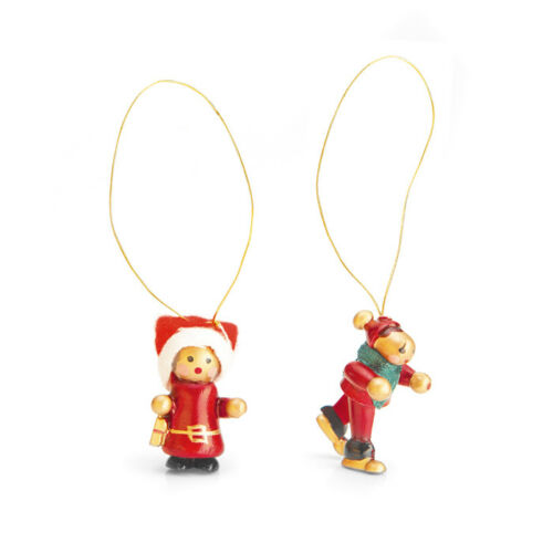 Set of 12 Hand Painted Wooden Christmas hanging tree decorations 25mm 35mm high