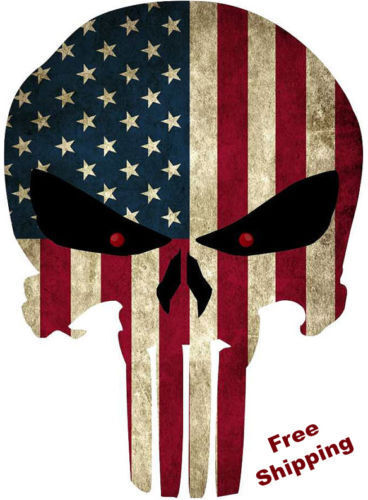 Punisher Skull American Flag Vinyl Decal Stickers Car Truck Sniper Marines Army Navy Military Jeep Graphic
