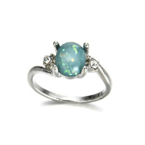 Fashion-Women-Jewelry-Green-Fire-Opal-Gems-925-Silver-Wedding-Engagement-Ring