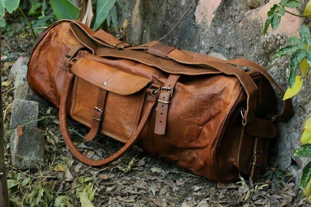 Handgefertigte charmante braune Leder Leder Leder Reisetasche mit Reisetasche | Online Store  2d8bbe
