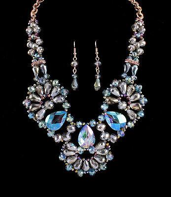 Crystal Glass Bead Stone Statement Bib Gold Tone Necklace Earring Jewelry Set