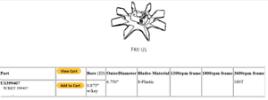"""US 399407 Plastic Fan for Electric Motor Inner Dia 7//8/"""" Out Dia 6.75"""