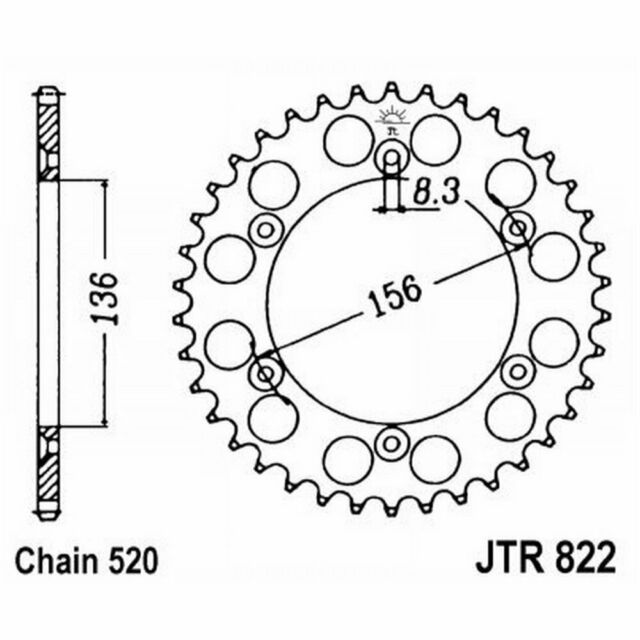 Sprocket JT 822 z51 Hm 125 Cre B 2T Rotax B125 2011-2013