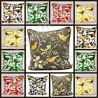 "Luxury Cushion Cover 100% Cotton Bird Tree Decorative Sofa Pillow Cases 20x20"""