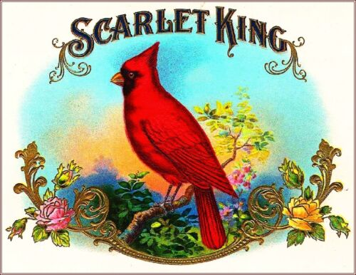 Scarlet King Cardinal Smoke Vintage Cigar Tobacco Box Crate Inner Label Print