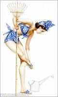1940s Pin-up Girl Gardening Picture Poster Print Art Vintage Pin Up