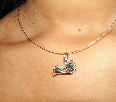 le cor pendentif argent massif sterling silver french horn wind instrument charm