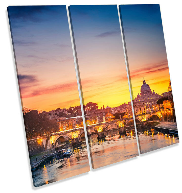 St Peters Cathedral Rome Sunset  TREBLE CANVAS WALL ART Square Picture Prin