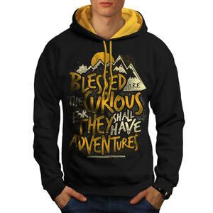 Men Take Adventures Felpa Black Contrast cappuccio con cappuccio oro New xqvxIUB