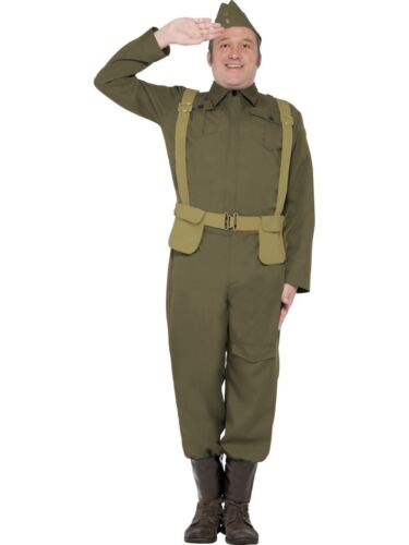 Mens WW2 Private Costume Dads Army Wartime Soldier Fancy Dress Outfit