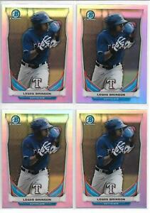 2014-Bowman-Draft-Lewis-Brinson-4-Card-Chrome-Refractor-Lot-Marlins-Prospect