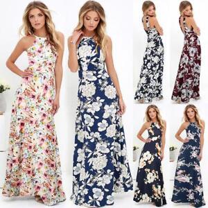 miglior valore più economico massimo stile Dettagli su Vestito estivo lungo da donna floreale Vestito da sera estivo  da festa S8O1
