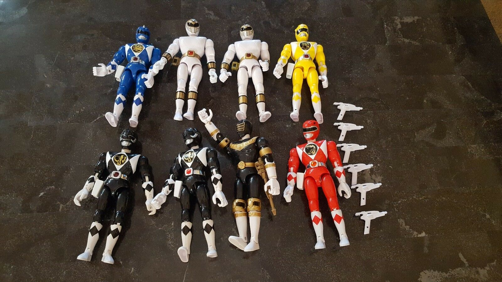 1990s MMPR POWER RANGERS 8  FIGURE LOT WITH WEAPONS