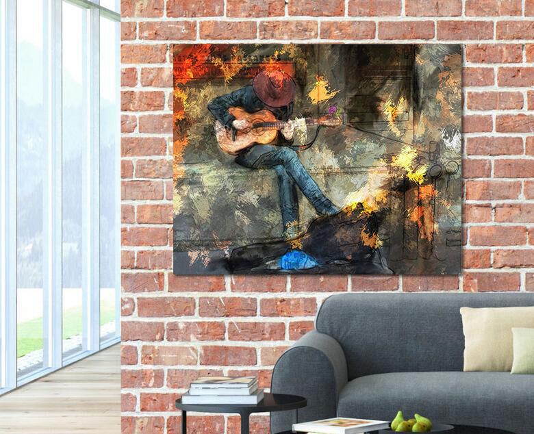 3D Gitarren-Mann 2 Fototapeten Wandbild Fototapete BildTapete Familie AJSTORE DE