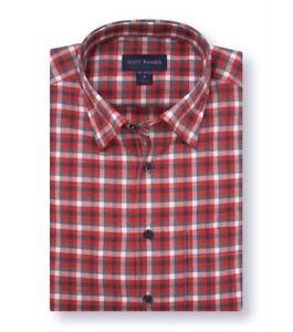 Scott-Barber-Mens-Shirt-Red-Size-Large-L-Button-Down-Classic-Fit-Plaid-80-415
