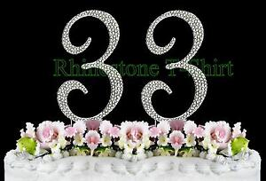 Large Rhinestone NUMBER (33) Cake Topper 33th Birthday Wedding Party Anniversary