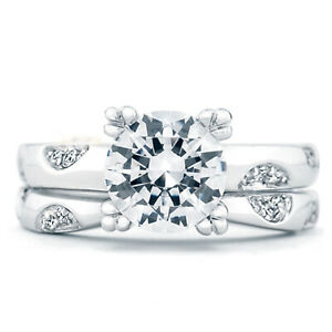 1.25 Ct Round Moissanite Band Set 14K Solid White Gold Anniversary Ring Size 6 7