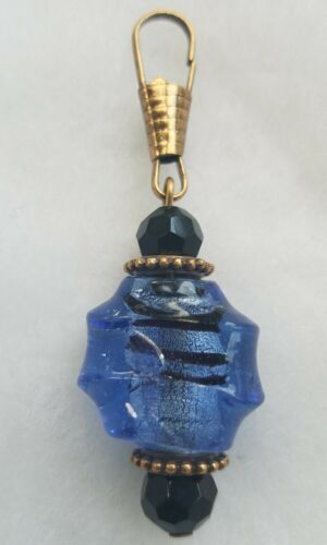 NEW Bronze Tone Cobalt Blue Black Murano Glass Zipper Pull Charm