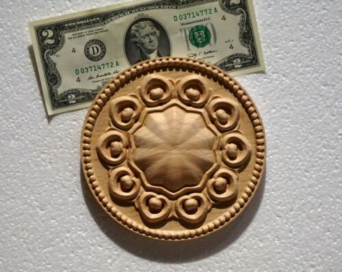 """Solid Hardwood carved Round Rosette Applique 5-1//16/""""Dia x 5//8/"""" Thick"""