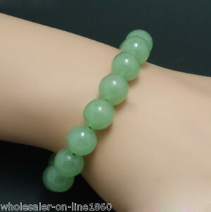 Handmade-10MM-Natural-Light-Green-Jade-Round-Gems-Beads-Stretch-Bangle-Bracelet