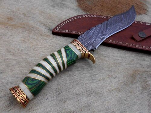 """engraved brass finger guard 13/"""" Damascus hunting exotic knife Leather sheath"""