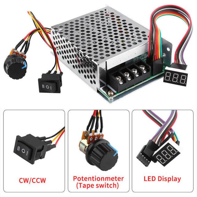 DC10-55V 12V 24V 36V 60A PWM Motor Speed Controller CW CCW Reversible Switch Set