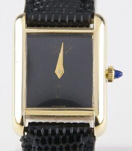 Details zu Vintage Must De Cartier 18k Gelbgold Galvanisiert Damen Quarz Uhr