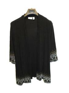 Chico-039-s-Travelers-Size-2-L-Black-Brown-Gray-Shirt-Open-Front-3-4-Sleeve-Travel
