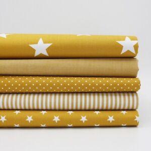 FQ-Paquet-Coton-Classiques-Moutarde-X-5-Fat-Quarts-Tissu-Coton-Patchwork