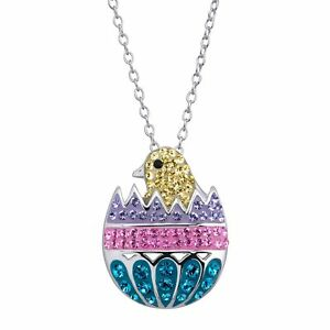 Crystaluxe Easter Egg Chick Pendant with Swarovski Crystals in Sterling Silver