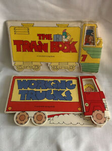 Vintage-1990-Lot-2-Kids-Shaped-TRAIN-BOOK-Sealed-amp-WORKING-TRUCKS-Troll-Dudley