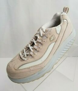 Skechers-Shape-Ups-11800-Womens-Sneakers-Beige-Leather-Lace-Up-Shoes-Size-8-5