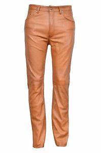 Cuir Pantalon Hommes Véritable Moto JEANS S Fauve Motards Chaps 3