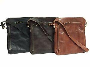 79192bda4b Image is loading Italian-Vegetable-Tanned-Leather-Mens-Cross-Body-Messenger-