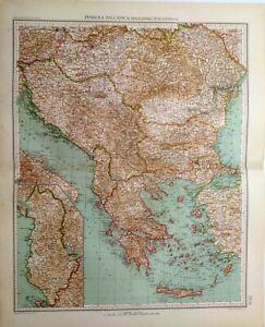 Albania Cartina Stradale.Carta Geografica Antica Balcani Albania Fra 1 E2 Guerra Mon 1929 Antique Map Ebay