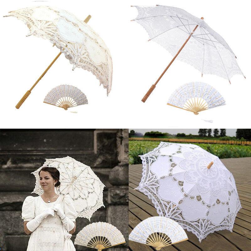 Vintage Lady Handmade Cotton Lace Parasol Umbrella Wedding Picture Bridals Decor