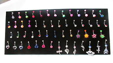 Display stand full of navel bars body jewellery, dangle gem roses hearts etc
