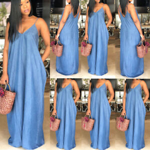 d18c46d9ca1 Plus Size Boho Backelss Summer Long Denim Maxi Dress Women Loose ...