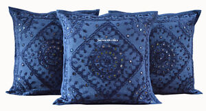 16X16-034-MIRROR-WORK-CUSHION-COVER-ETHNIC-DECOR-ART-SET-OF-NEW-BLUE-HANDMADE