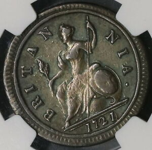 1721-0-NGC-VF-1-2-Penny-George-I-Great-Britain-Overdate-Rare-Coin-18091003CZ