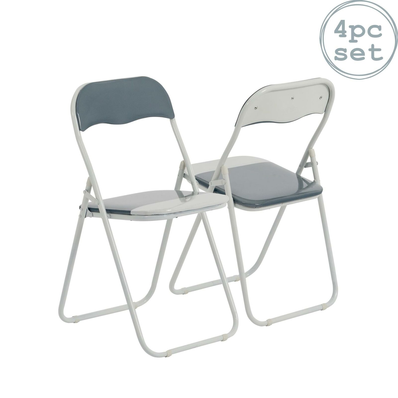 Image of: 4 X Harbour Housewares Cool Grey White Padded Folding Desk Chairs For Sale Online Ebay