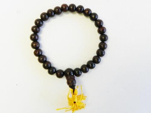 F778B Auspicious Rose Wood Beads Wrist Bracelet Mala Handmade In Nepal