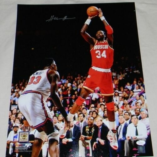 HAKEEM OLAJUWON AUTOGRAPHED SIGNED HOUSTON ROCKETS 16x20 PHOTO JSA