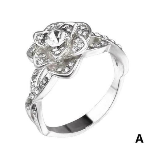 Wunderschöne blume floral ring legierung hochzeit schmuck 7-10 größe mädche U3P5