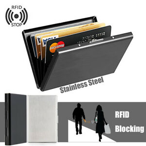 Details Zu Rfid Kreditkartenetui Blocker Schutz Edelstahl Kreditkarten Visitenkartenetui