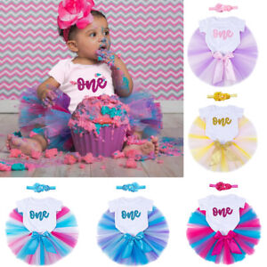 Image Is Loading Baby Girl 1st Birthday Tutu Dress Outfit Romper