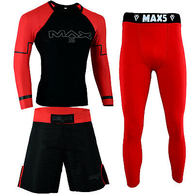 Max5 MMA fighting Shorts BJJ No Gi Spats Jiu Jitsu Rash Guard Training Shirt