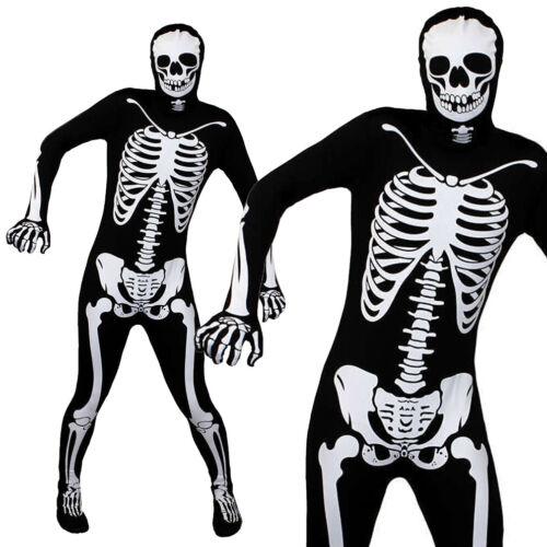 ADULTS SKELETON SKINSUIT BLACK BONE BODY SUIT HALLOWEEN COSTUME FANCY DRESS