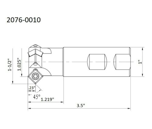 """2076-0010 45 DEGREE 1-1//2/"""" X 1 SHANK 3-INSERT INDEXABLE CHAMERING END MILL"""